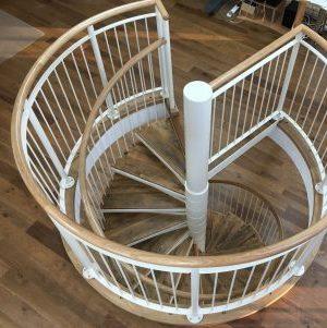 Bespoke Oak handrails to spiral staircase