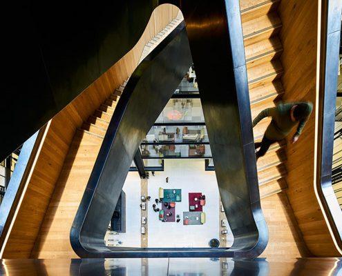 Hawkeye shot of Google staircase & bespoke timber handrails