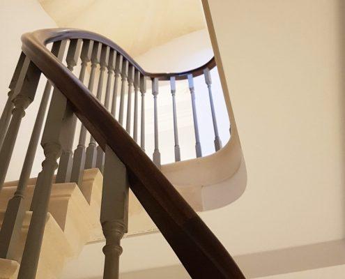 Square timber handrails fixed into stone, Mahogany timber bespoke handrails