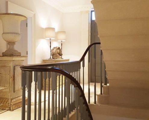 Grey square spindles Mahogany handrail both from timber