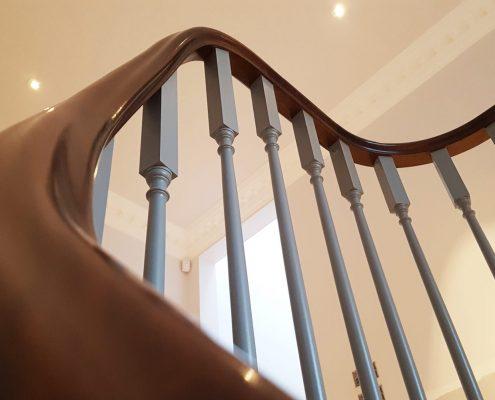 Bespoke timber mahogany handrail & spindles