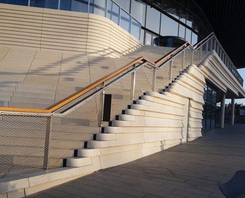 Mitre cut handrails outdoors