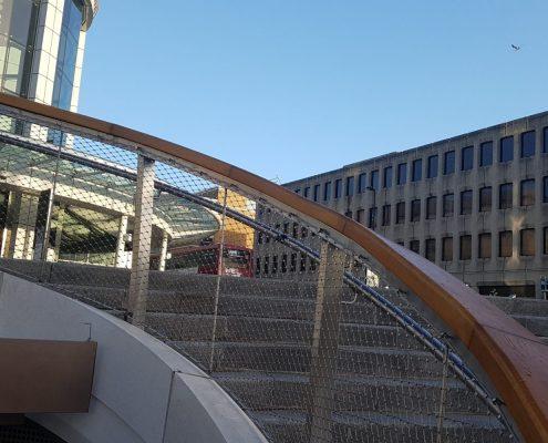Oak handrails steel mesh