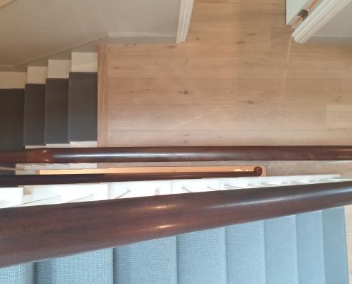 Hawk eye view of continuous Mahogany handrail