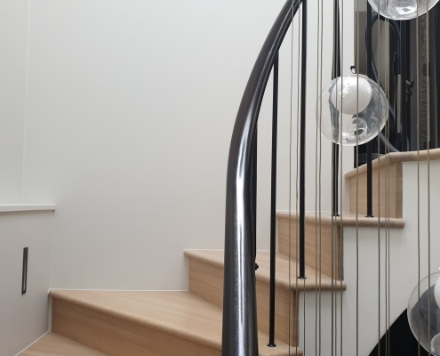 French polished helical section handrail