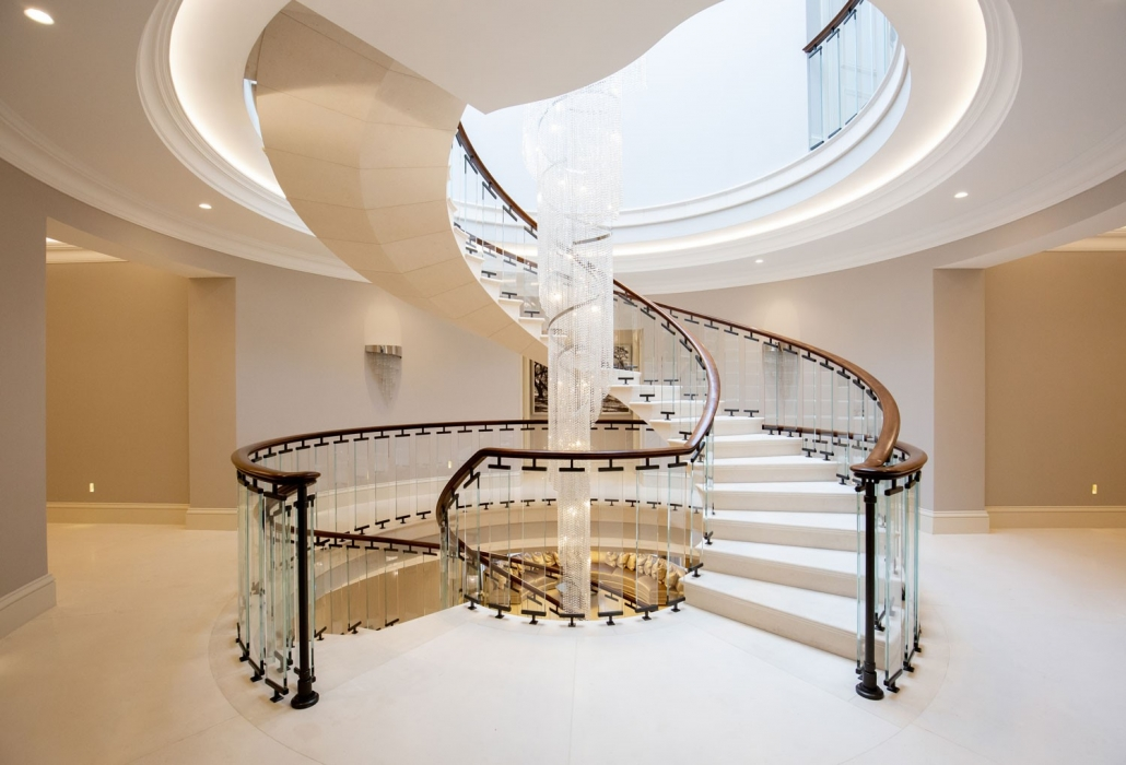 Stone spiral staircase with bespoke handrails & balustrade