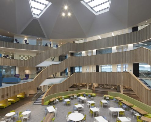 Office atrium Oak clad