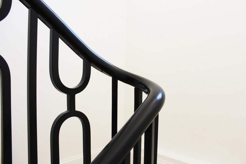 Black Satin custom handrail & spindles