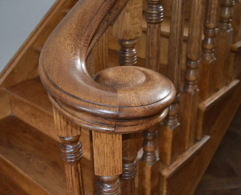 Oak volute monkey tail to timber staircase and spindles