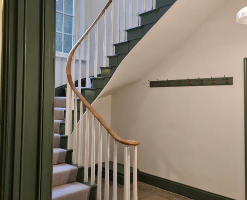 Oak wooden handrail with monkeytail