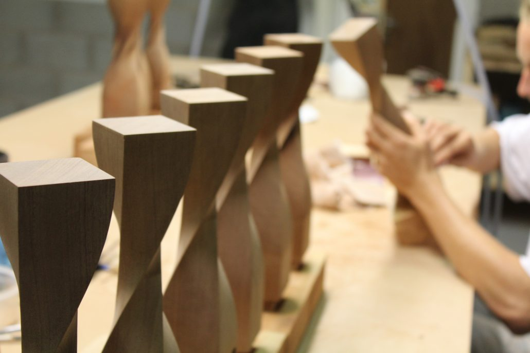 CNC machined timber trophies twisted profile
