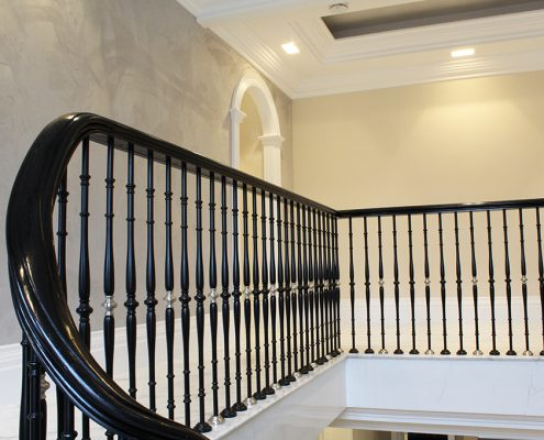 Sapele handrail stained Black to landing