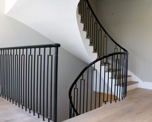 Piano Black timber handrails & steel balustrade