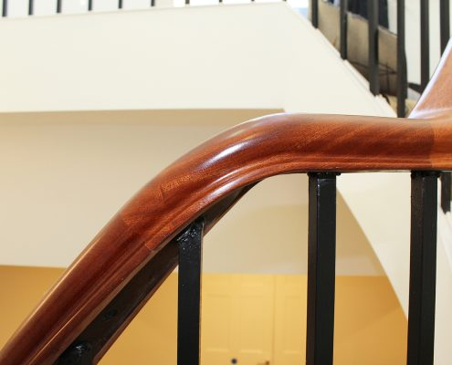 Handrail twist detail with steel core rail and Black steel square spindles