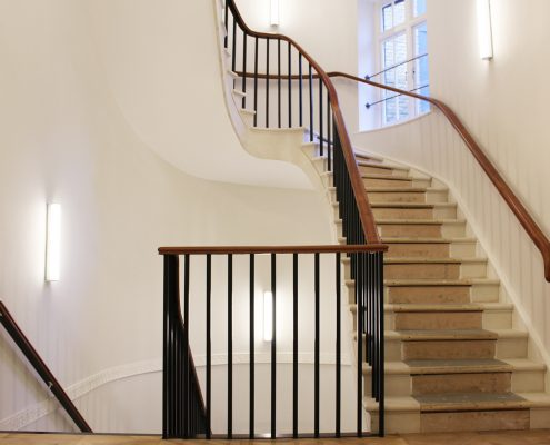 Mahogany handrails with wall brackets & Black powder coated square steel spindles