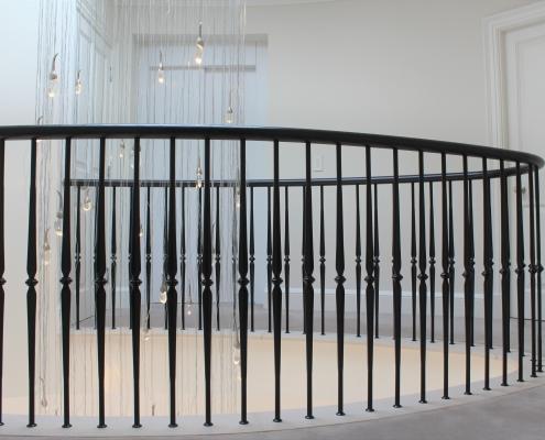 Curved landing handrail & balustrade matching colour Black
