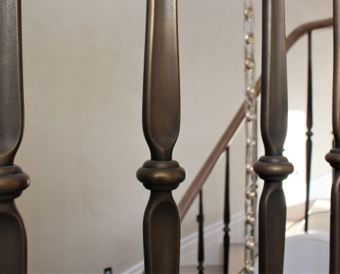 Steel spindles with a brass finish
