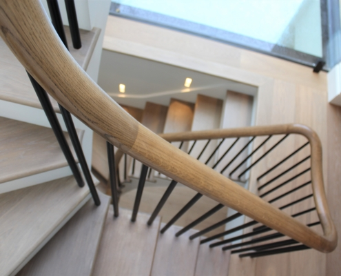 Lightwood bespoke timber handrail with Black spindles