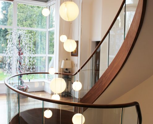 Landing area, Walnut handrail with glass balustrade