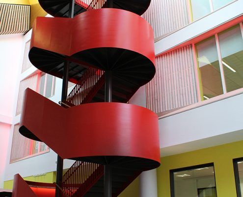 red feature steel staircase