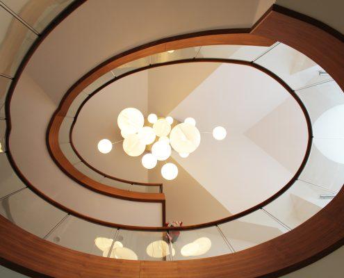 Walnut elliptical staircase