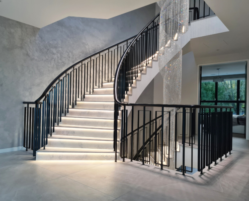Straight and curved bespoke Black handrails