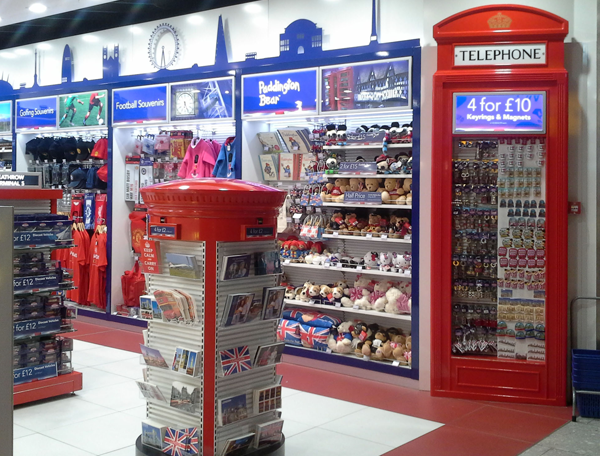 Painted timber post box for use in airport duty free
